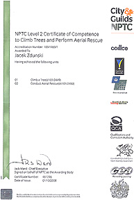 NPTC Level 2 Certificate of Climb Trees and Perform Aerial Rescue