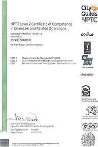 NPTC Level 2 Certificate of Competence in Chainsaw and Related Operations